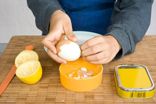 Peeling hard-boiled eggs : Stock Photo