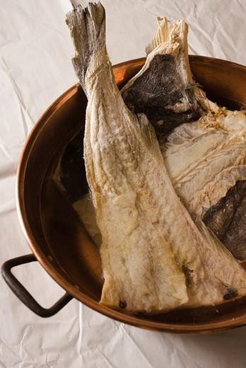 Salt cod preparation : Stock Photo