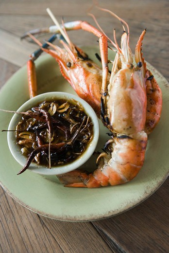 Stock Photo: 4277-2528 Grilled shrimp with tamarind sauce