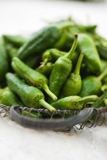 Green chili peppers : Stock Photo