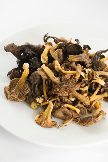 Stock Photo: 4277-2769 Chanterelles on plate