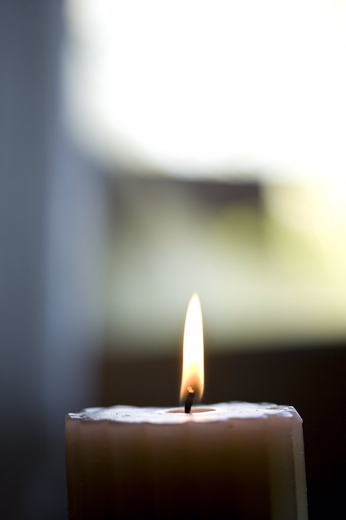Close up of burning scented candle : Stock Photo