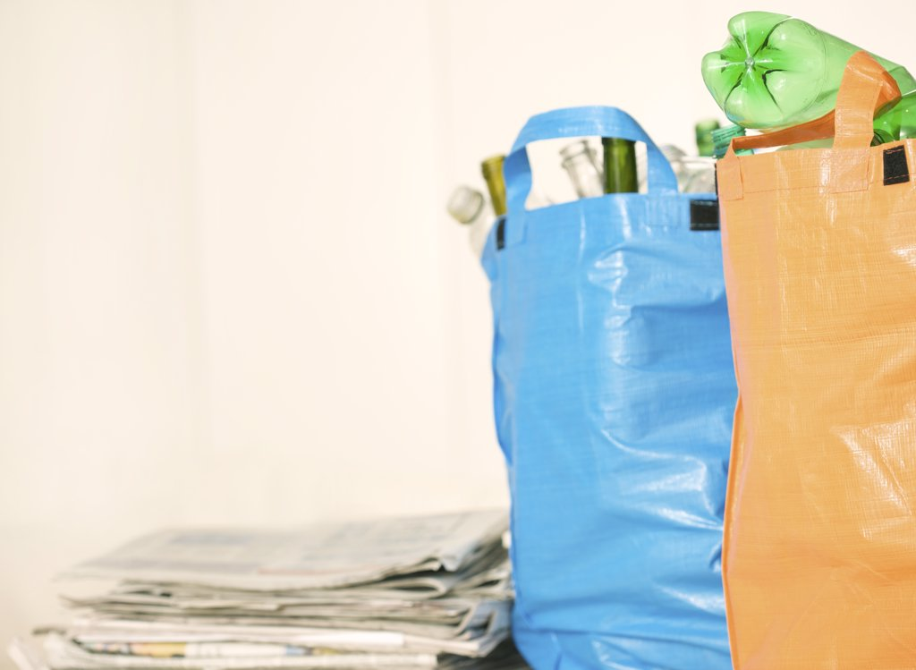 Close up of recycling bags full of garbage : Stock Photo