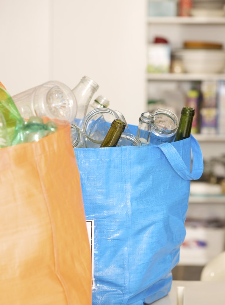 Stock Photo: 4278-3515 Close up of recycling bags full of garbage