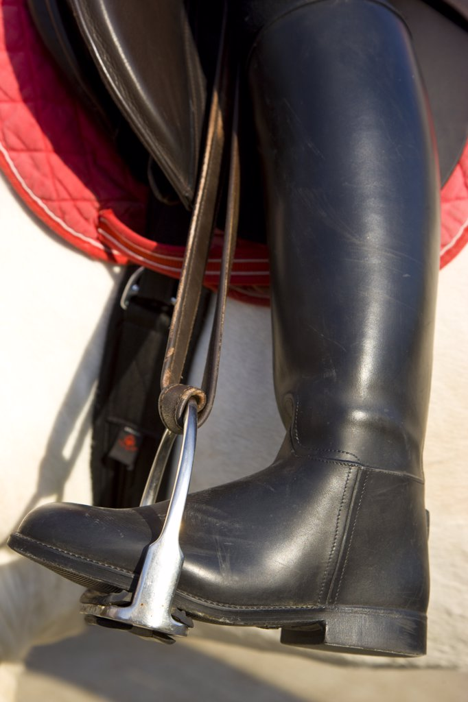 Stock Photo: 4278-4291 Close up of a riding boot on a stirrup