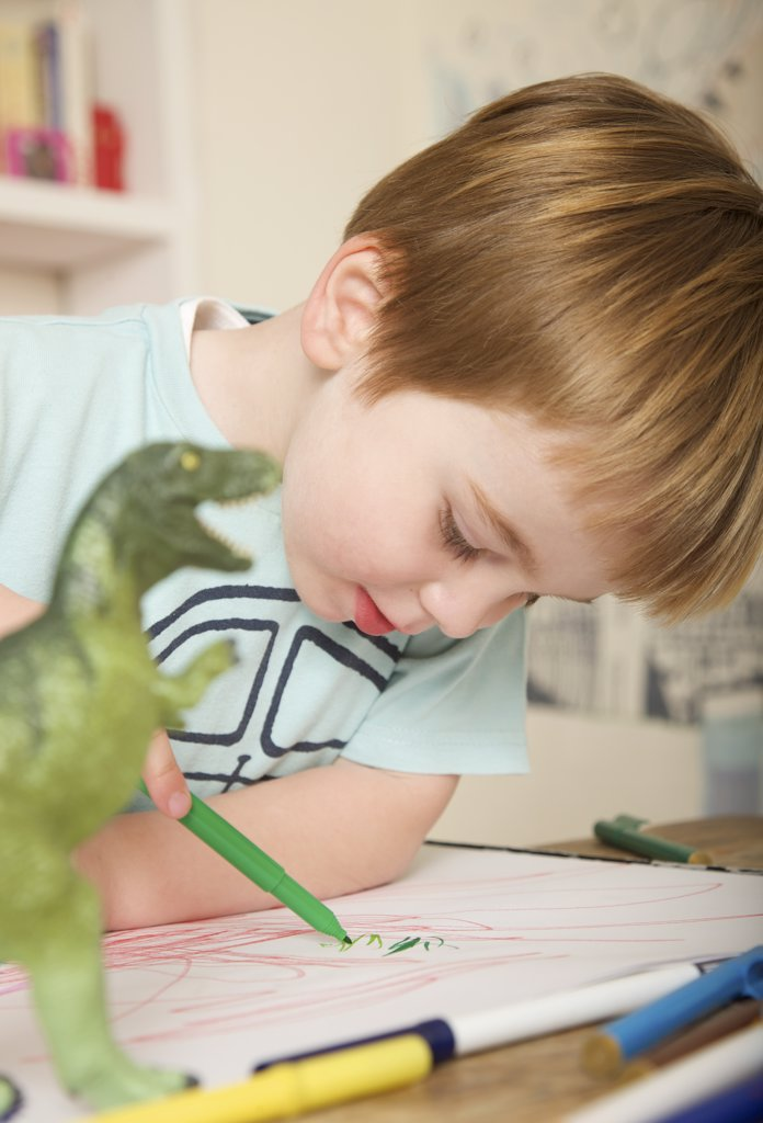 Boy drawing and coloring : Stock Photo