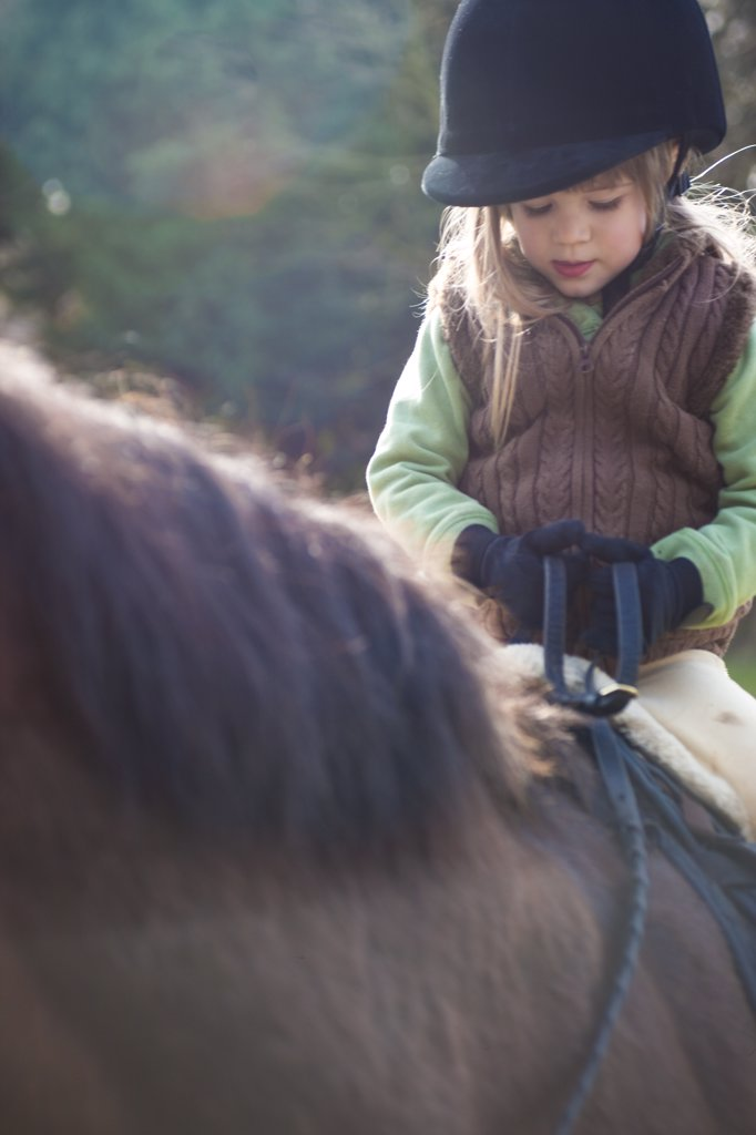 Stock Photo: 4278-6911 Young girl riding a horse