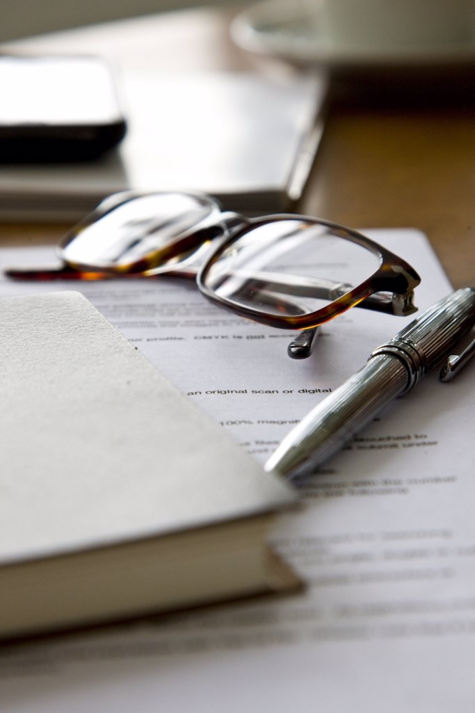Paperwork, Eyeglasses, Notebook and Pen : Stock Photo