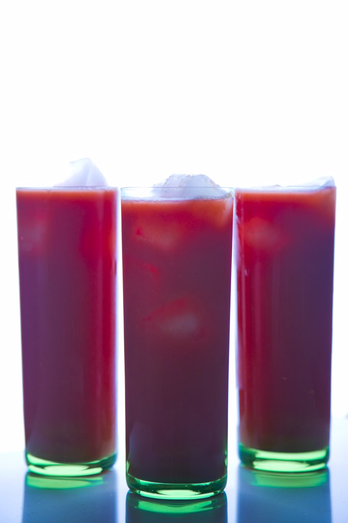 Stock Photo: 4278-7638 Three Glasses of Watermelon Juice with Ice