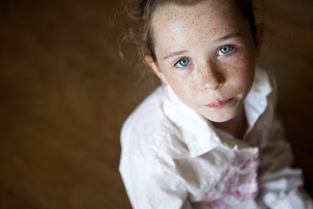 Stock Photo: 4278-8524 Portrait of Young Girl, High Angle View