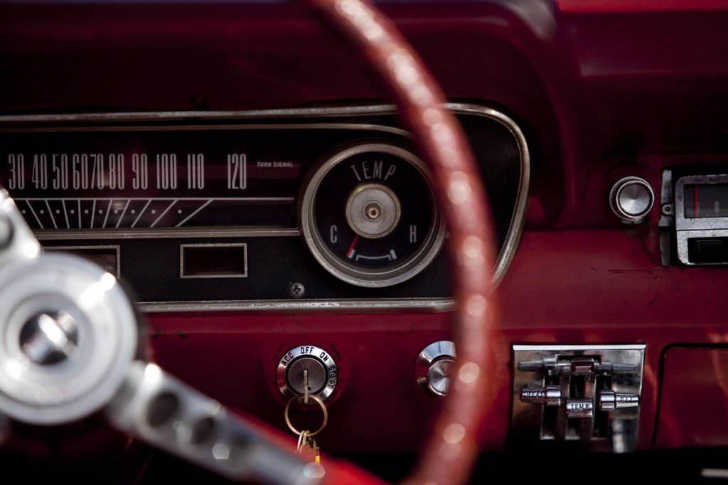 Stock Photo: 4278-8842 Vintage Car Dashboard