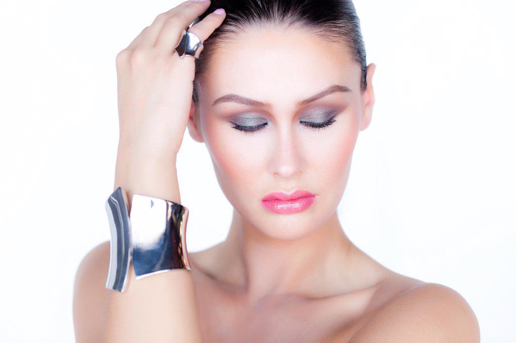 Portrait of Woman Wearing Silver Cuff Jewel : Stock Photo