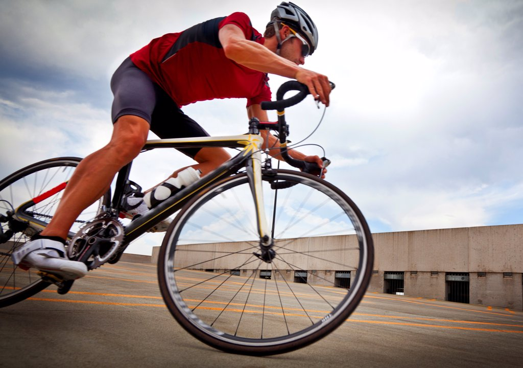 Stock Photo: 4278-9542 Cyclist Riding Bike