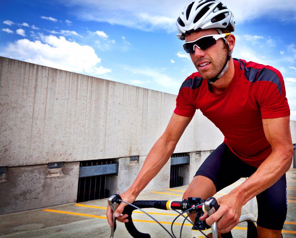 Stock Photo: 4278-9552 Cyclist Riding Bike