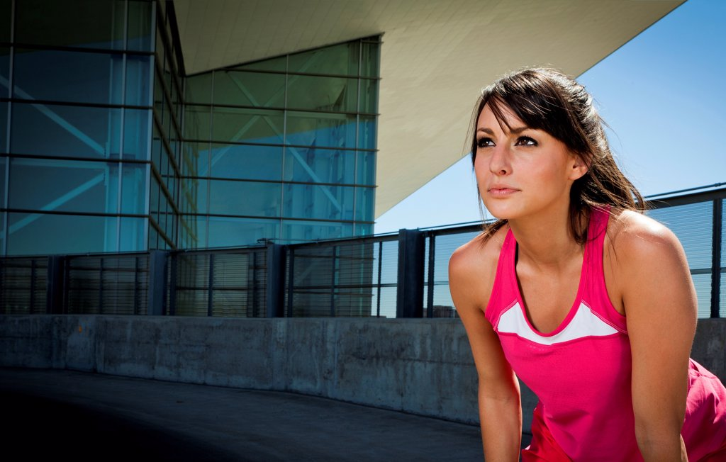 Stock Photo: 4278-9614 Portrait of Young Woman in Sportswear