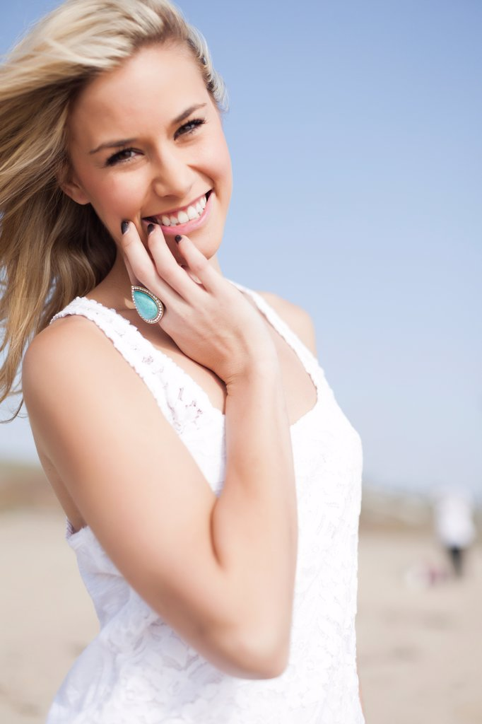 Stock Photo: 4278-9622 Smiling Woman, Close up view