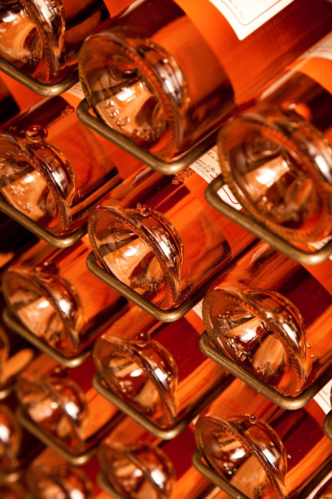 Stock Photo: 4278-9687 Stacked Rose Wine Bottles