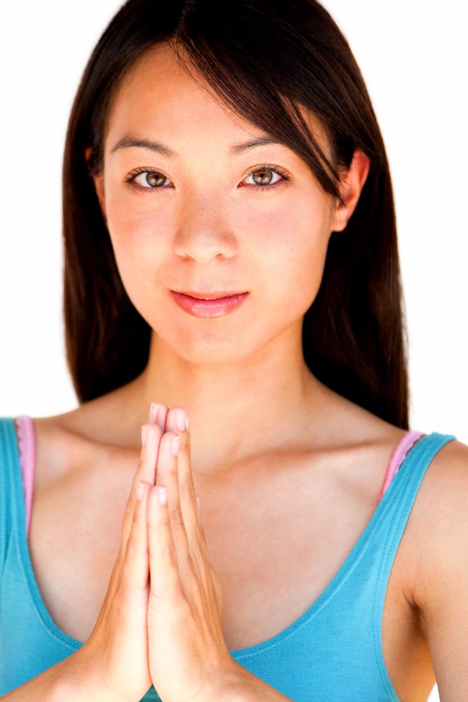 Stock Photo: 4278-9735 Young Woman with Hands in the Prayer Position