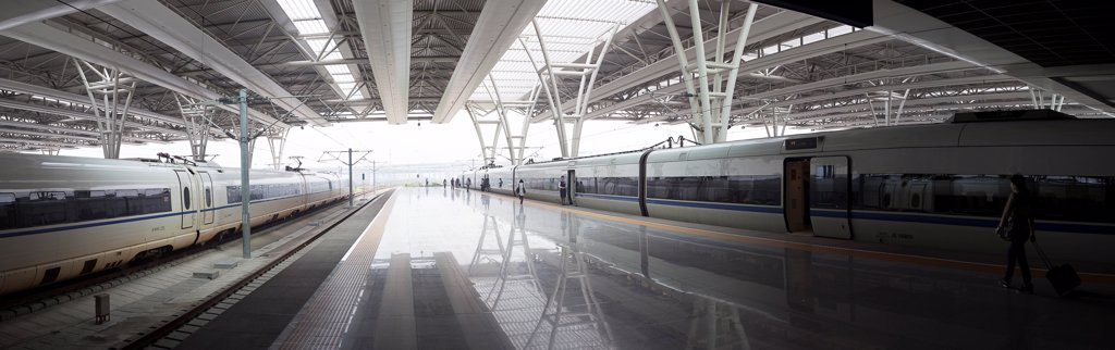 Stock Photo: 4278-9741 Train Station Terminal in Shanghai, China