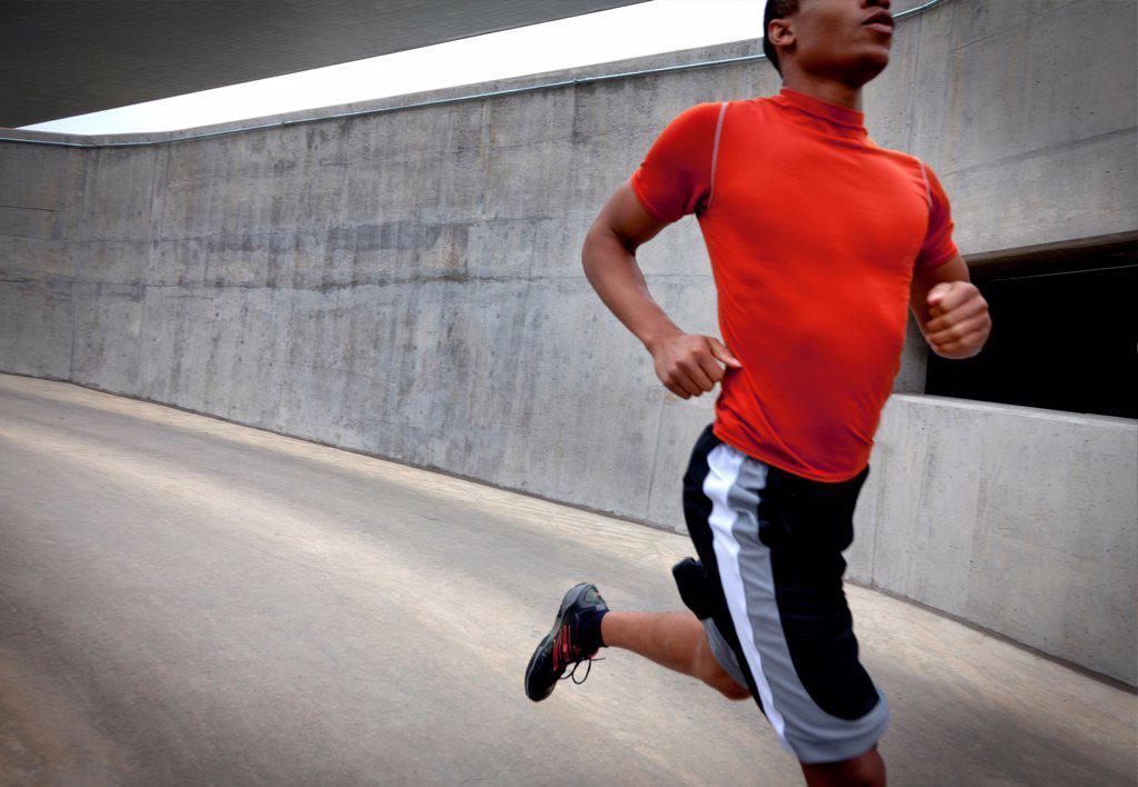 Man Running Outdoors : Stock Photo