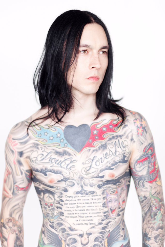 Stock Photo: 4278-9751 Portrait of Man Covered in Tattoos