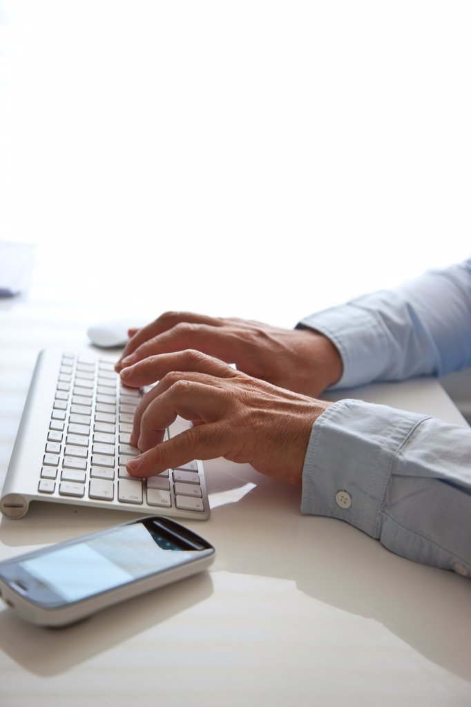 Stock Photo: 4278-9782 Man's Hands Typing on Keyboard
