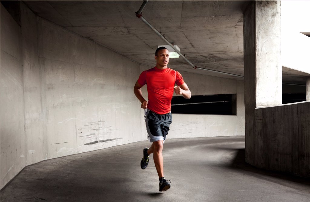 Man Running Outdoors : Stock Photo