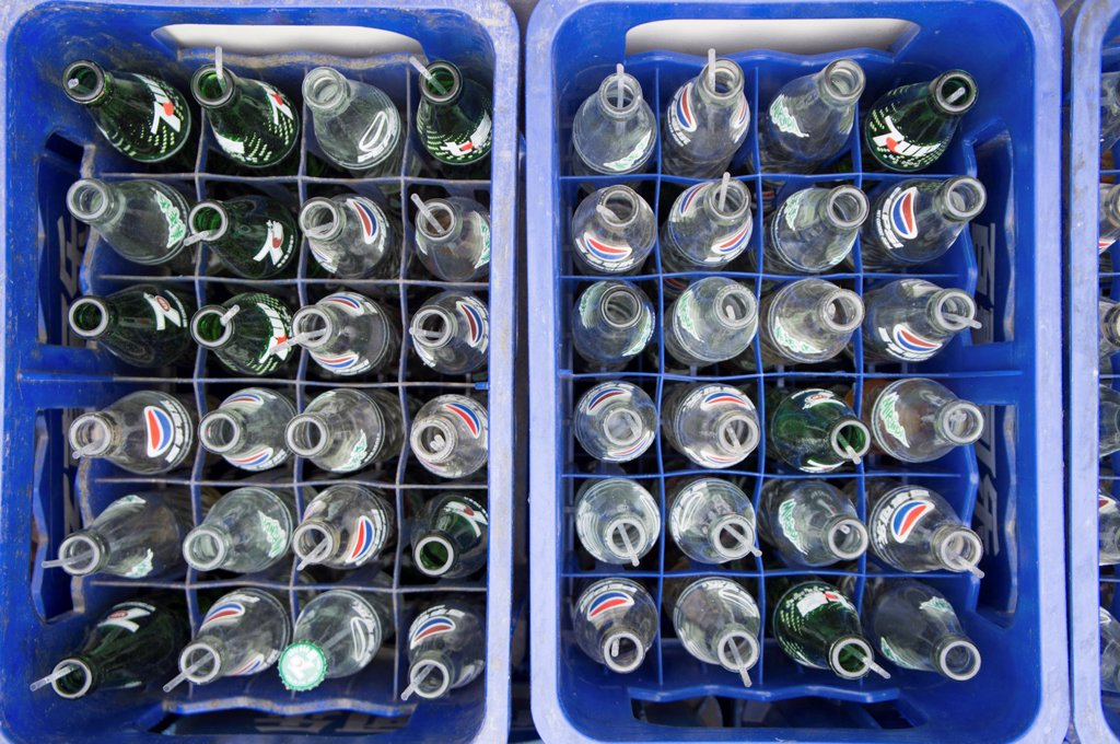 Stock Photo: 4278-9835 Elevated View of Crates Filled with Empty Bottles