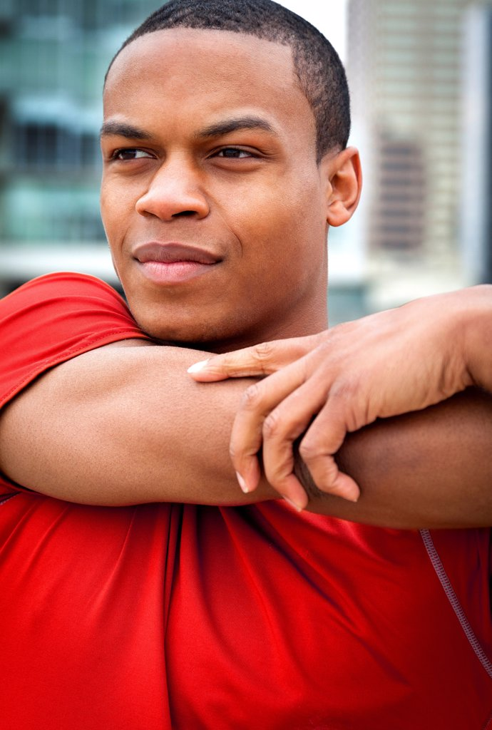 Man Stretching his Arm : Stock Photo