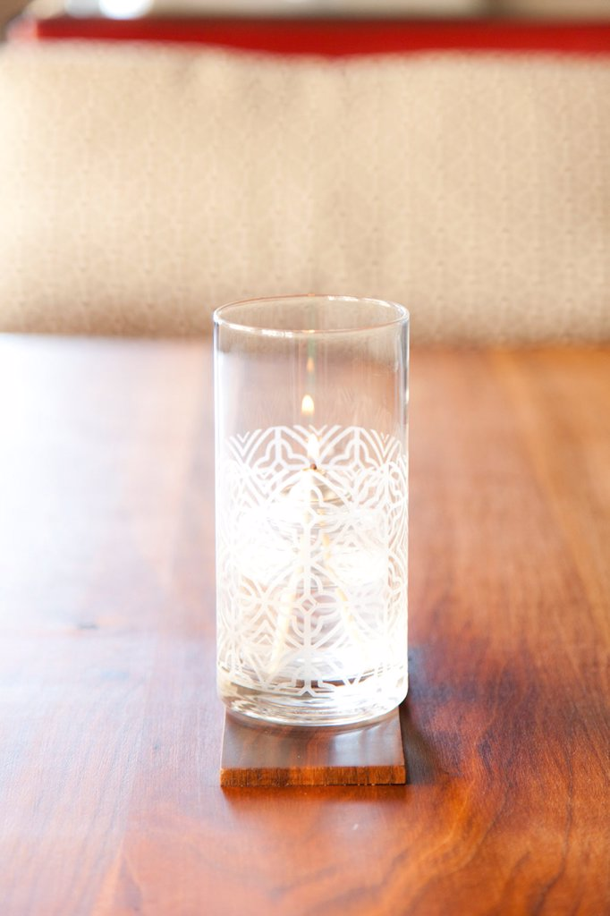 Decorative Glass Candleholder on Wooden Table : Stock Photo