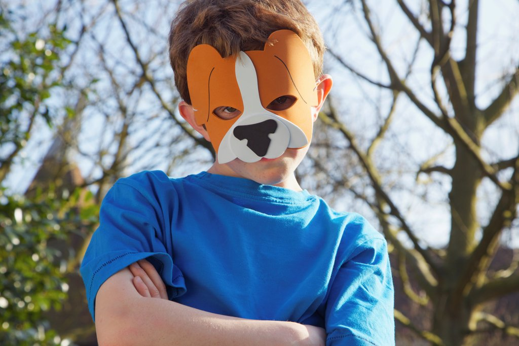 Stock Photo: 4278-9951 Boy Wearing Lion Mask
