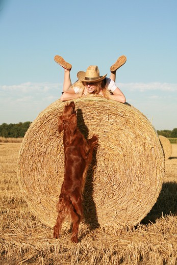 Stock Photo: 4279-30973 woman and Irish Red Setter dog on straw