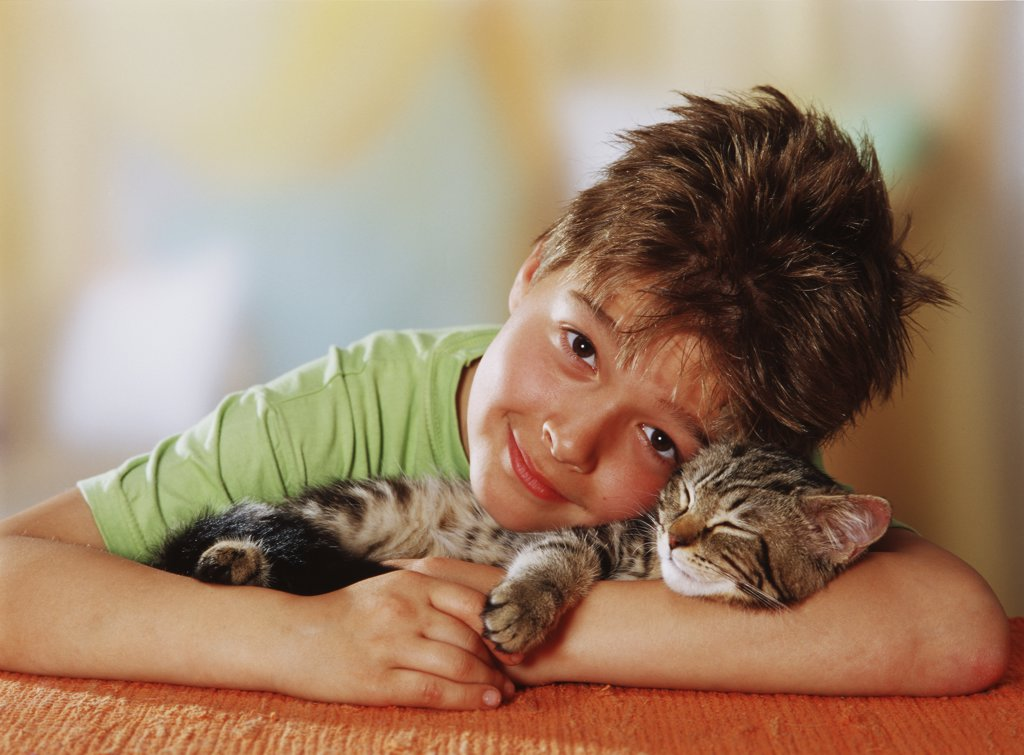 Stock Photo: 4279-43812 boy with kitten