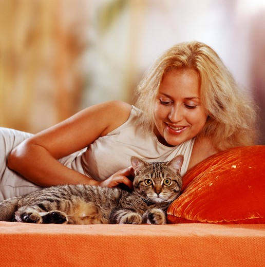 girl with domestic cat : Stock Photo