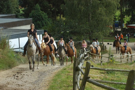Stock Photo: 4279-7918 ride : horses with riders - in a row