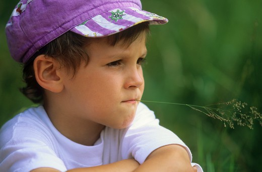 boy with blade of grass : Stock Photo