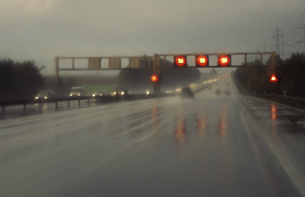 motorway - rain : Stock Photo
