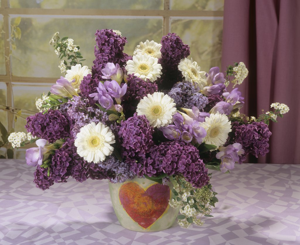 Stock Photo: 4279R-51092 bouquet with lilac , gerberas and freesias