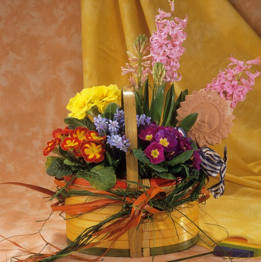 Stock Photo: 4279R-51257 basket with different flowers