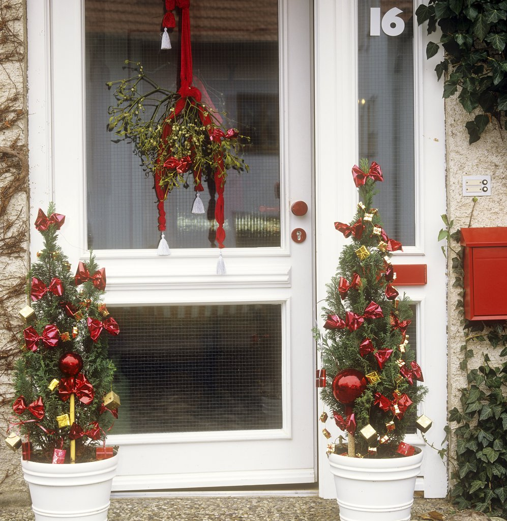entrance with christmas decoration : Stock Photo