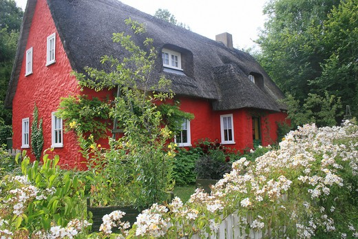 Stock Photo: 4279R-59011 Ireland - red, thatched house