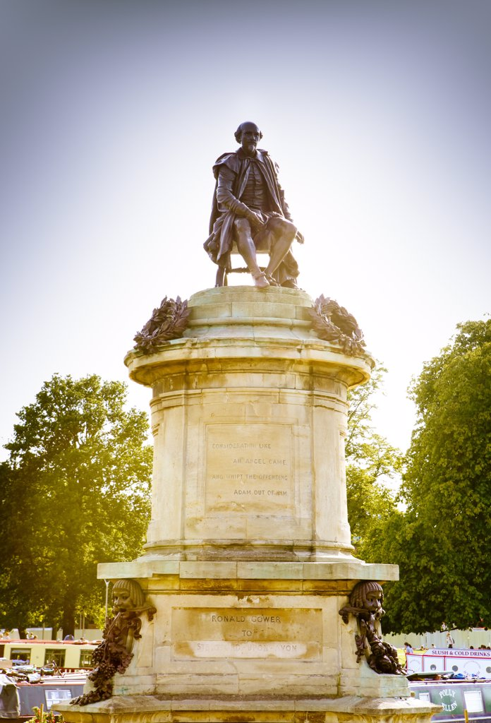 Stock Photo: 4282-10394 England, Warwickshire, Stratford-upon-Avon. The Gower memorial to Shakespeare situated in Bancroft Gardens. The memorial was sponsored by Lord Ronald Sutherland-Gower, who presented it to the town of Stratford in 1888.