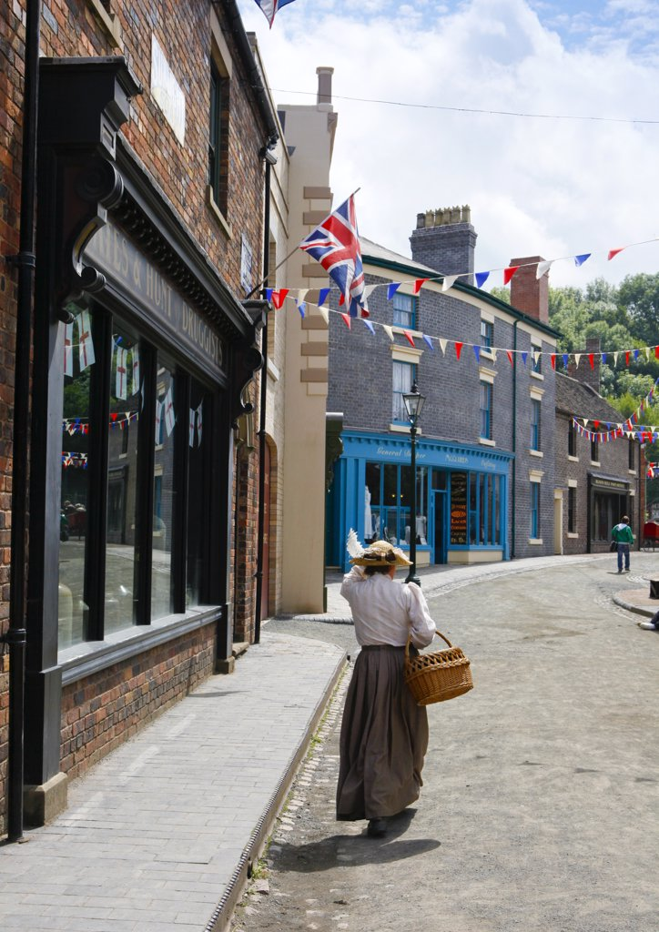 Stock Photo: 4282-10585 England, Shropshire, Telford. Blists Hill Victorian Town, one of ten museums that form the Ironbridge Gorge Museums. The town offers visitors the opportunity to see and experience how life was lived in Victorian Times.