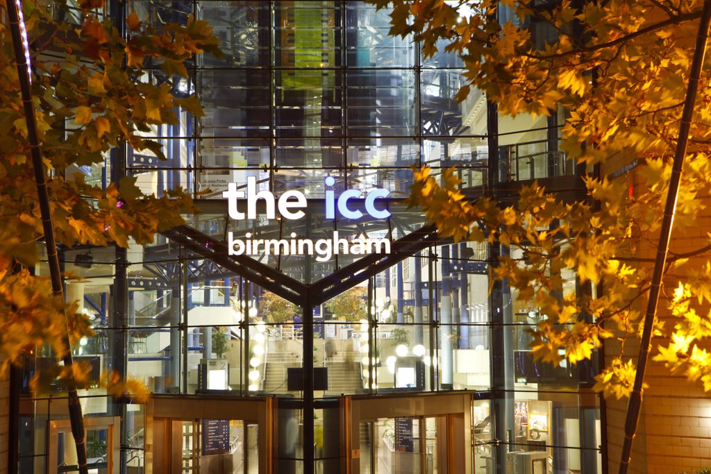 Stock Photo: 4282-10624 England, West Midlands, Birmingham. The exterior of The ICC (International Convention Centre) Birmingham, a purpose built convention centre with facilities for conferences, meetings, banquets, seminars in the heart of Birmingham.