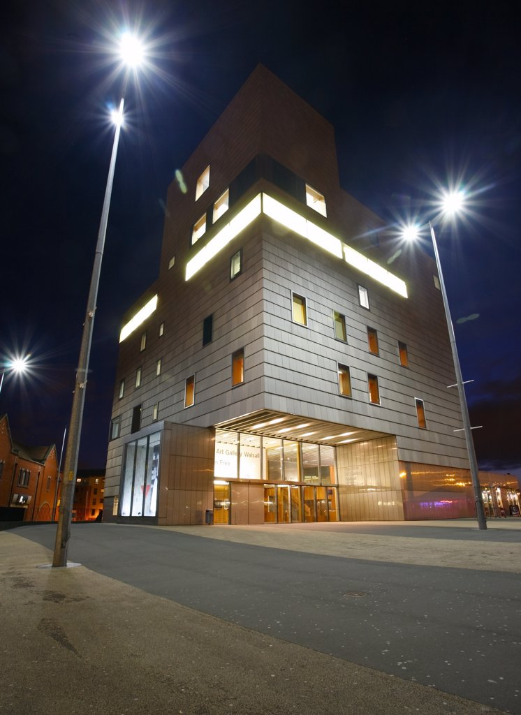 Stock Photo: 4282-10660 England, West Midlands, Walsall. The New Art Gallery Walsall at night.