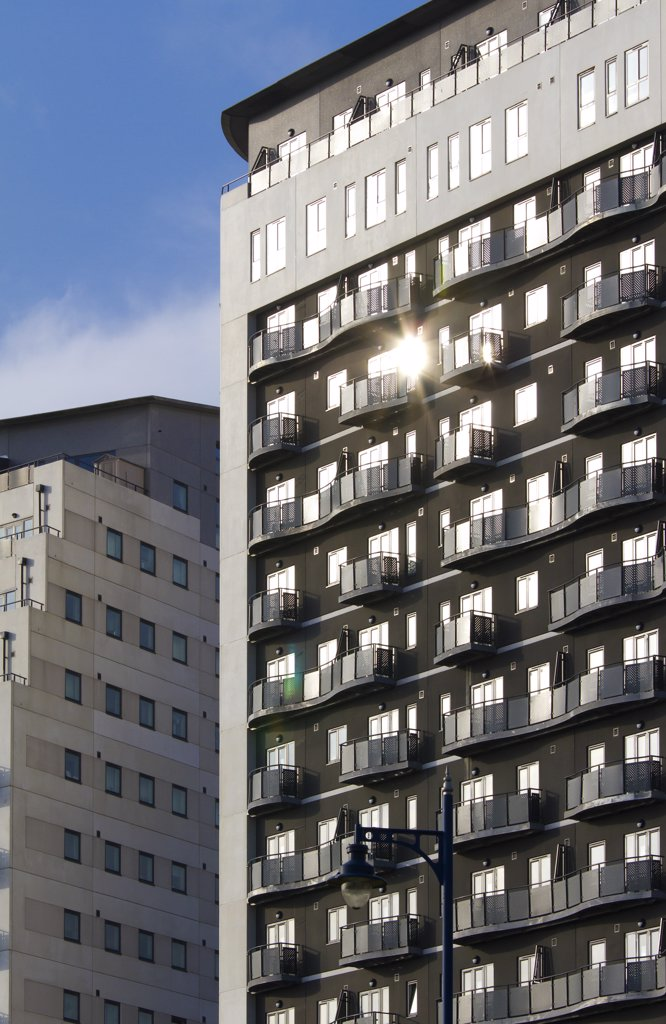 Stock Photo: 4282-10781 England, West Midlands, Birmingham. Apartments in one of the new high rise developments at Masshouse in Eastside, Birmingham.