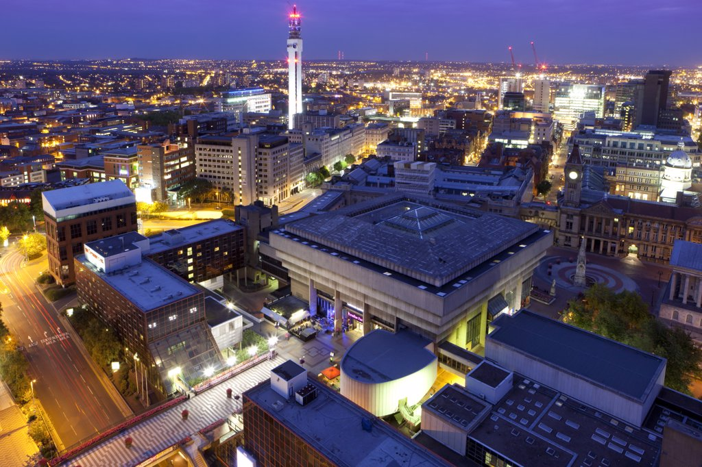 Stock Photo: 4282-10849 England, West Midlands, Birmingham. Cityscape of Birmingham city centre at night.