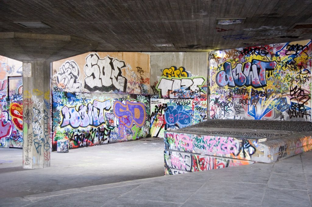 Stock Photo: 4282-11053 England, London, South Bank. A view of graffiti in an underpass.