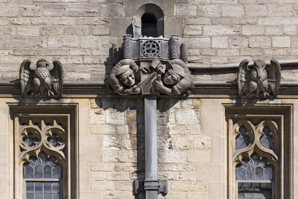 England, Oxfordshire, Oxford. Gargoyles and drains at Brasenose College. The college was originally called Brazen Nose College. : Stock Photo