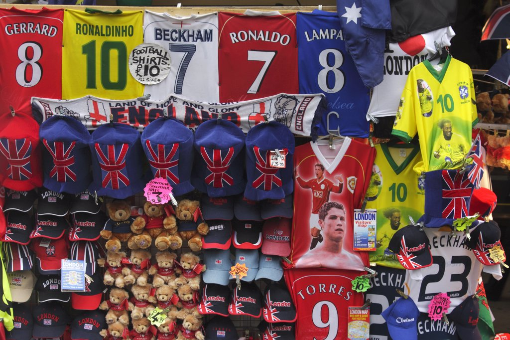 England, London, Picaddilly. Detail of a tacky souvenir stall in London. : Stock Photo